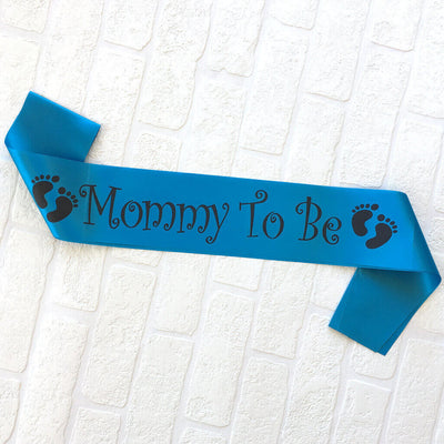 Blue Online Party Supplies Mommy To Be with Footprints Baby Shower Satin Sash