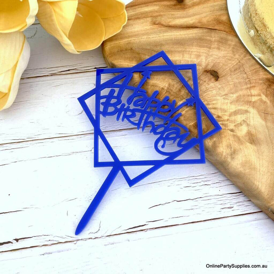 Blue Geometric Hexagon Happy Birthday Cake Topper Party Supplies Cake Decorations