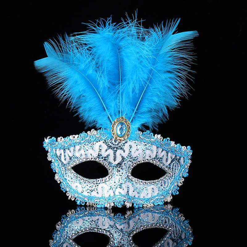 Elegant Tall Feather Lace Masquerade Mask for Women - Blue