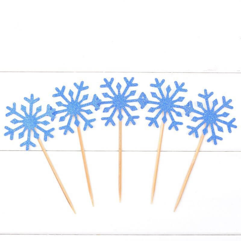 Blue Glitter Snowflake Paper Cupcake Topper 10 Pack