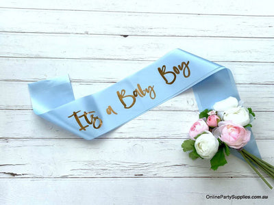 Blue 'It's a Baby Boy' Gender Reveal Party Satin Sash