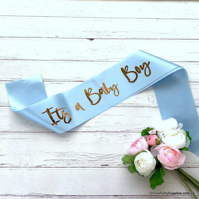 Blue 'It's a Baby Boy' Gender Reveal Party Satin Sash - Baby Party Decorations