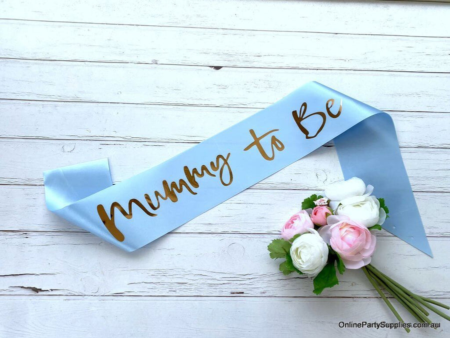 Blue Mummy To Be Baby Shower Satin Sash - Gender Reveal Party Decorations