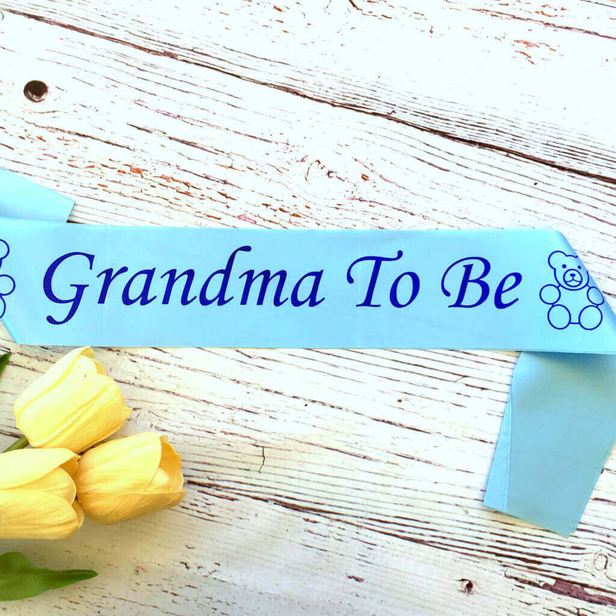 Baby Blue Grandma To Be Baby Shower Satin Sash - Gender Reveal Party Decorations