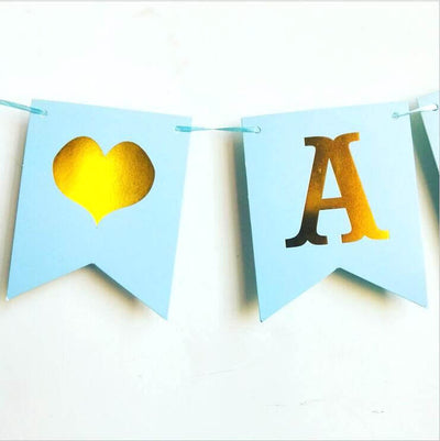 Blue  Cardstock Paper 'It's A Boy' Baby Shower Gender Reveal Bunting Banner