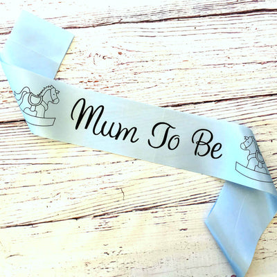 Blue Online Party Supplies Mum To Be with Rocking Horse Baby Shower Satin Sash