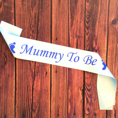 Blue Online Party Supplies Mummy To Be with Footprint Baby Shower Satin Sash