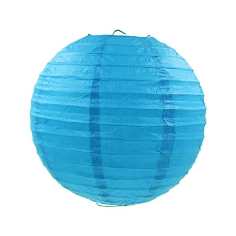 Blue Round Chinese Paper Lantern - 4 Sizes