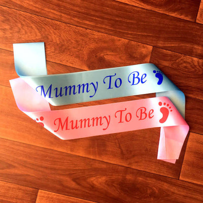 One Size Fits All Pink Blue Online Party Supplies Mummy To Be with Footprint Baby Shower Satin Sash