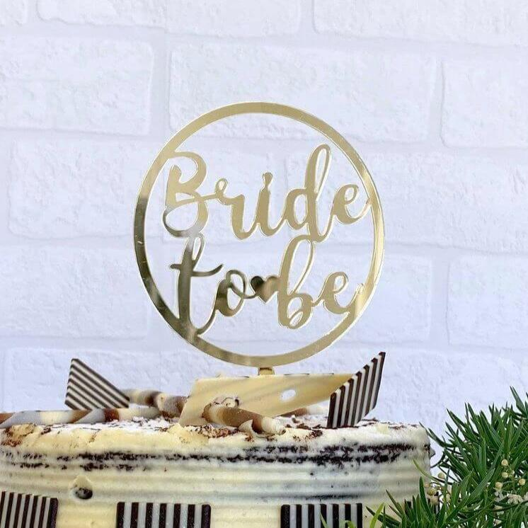 Online Party Supplies Australia Gold Mirror Acrylic 'Bride To Be' Loop Wedding Cake Topper