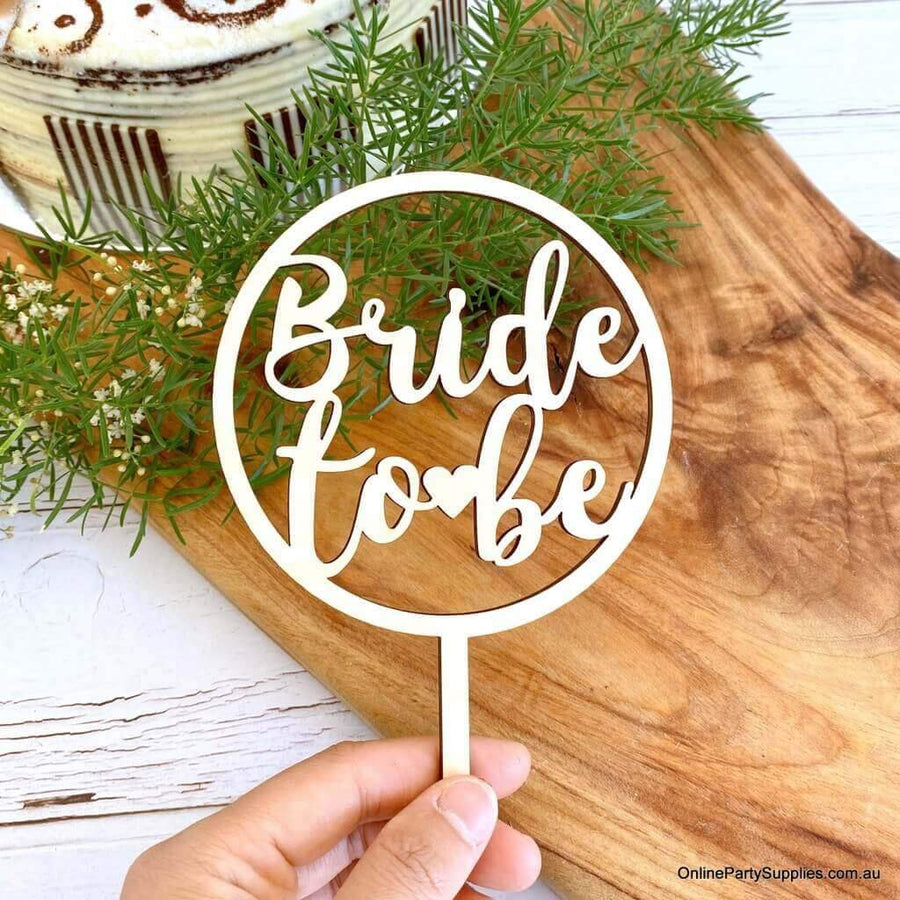 Wooden 'Bride To Be' Loop Wedding Cake Topper