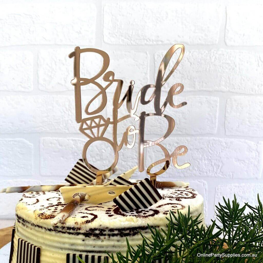 Online Party Supplies Australia Rose Gold Mirror Acrylic Diamond 'Bride To Be' Wedding Cake Topper