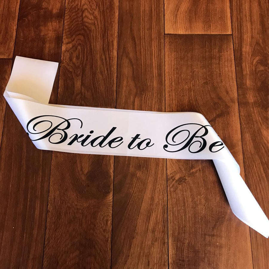 Bride To Be Satin White Sash with Black Print - Online Party Supplies