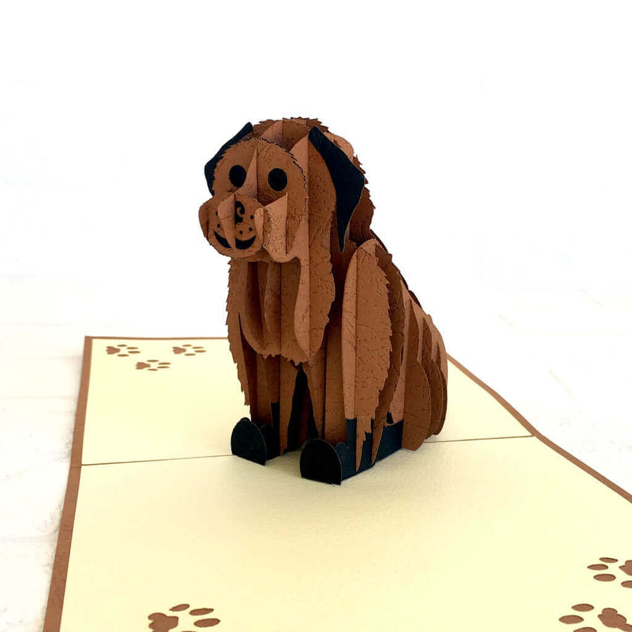 Handmade Cute Sitting Chocolate Brown Puppy Dog 3D Pop Up Greeting Card