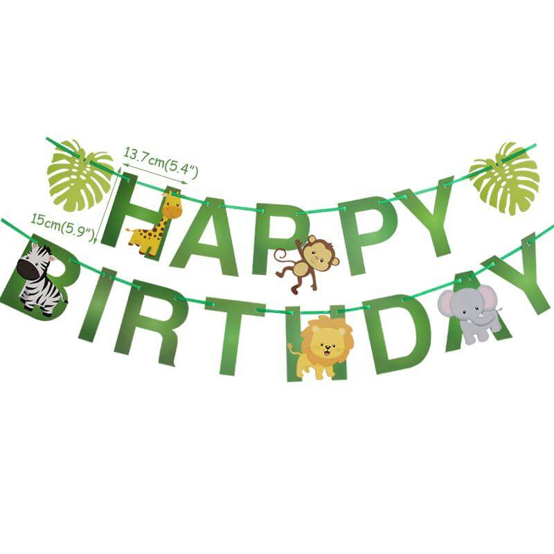 Happy Birthday Jungle Animal Hanging Paper Garland