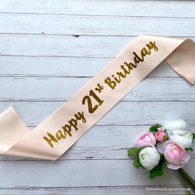 Champagne Pink 'Happy 21st Birthday' Satin Sash