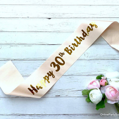 Champagne Pink 'Happy 30th Birthday' Party Satin Sash
