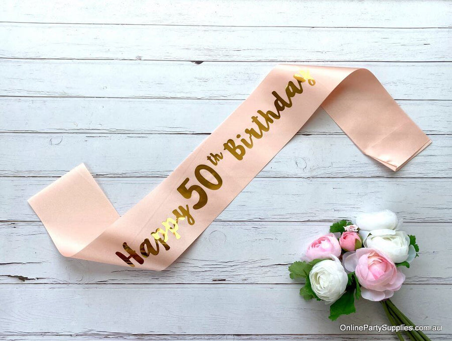 Champagne Pink Gold Printed 'Happy 50th Birthday' Satin Sash