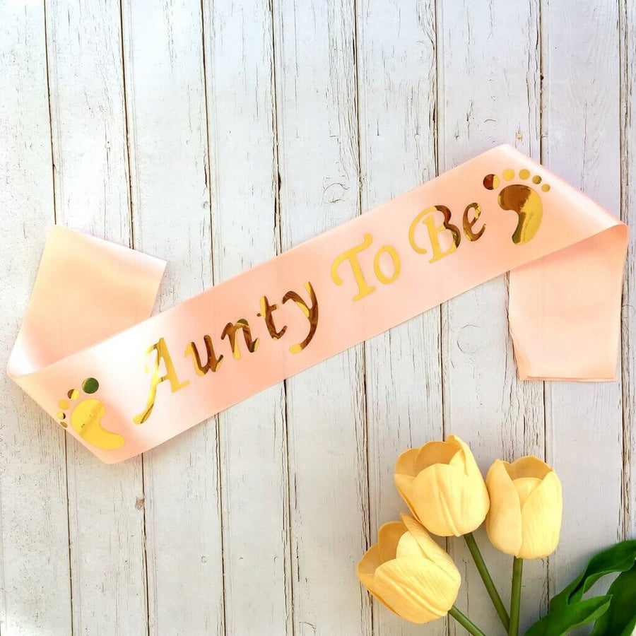 Champagne Pink Gold Foiled Aunty To Be Sash - Baby Shower Party Decorations
