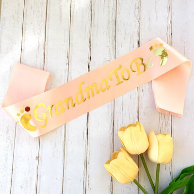 Online Party Supplies Champagne Pink Grandma To Be Gold Foiled Baby Shower Satin Sash