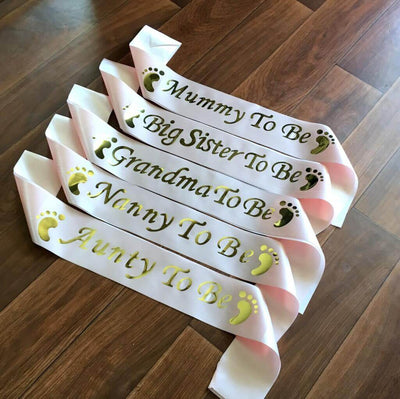 champagne pink BABY SHOWER GENDER REVEAL MATERNITY SATIN SASH