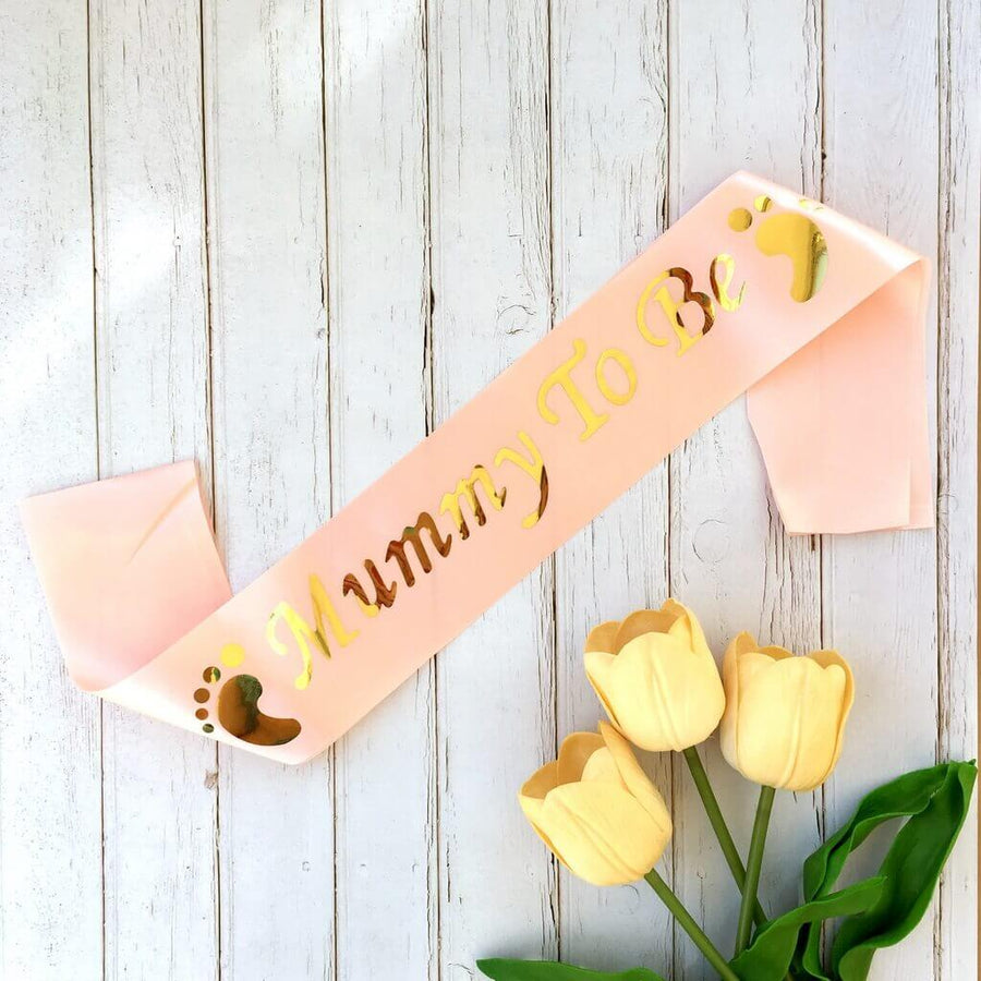 Champagne Pink Gold Foiled Mummy To Be Sash - Baby Shower Party Decorations