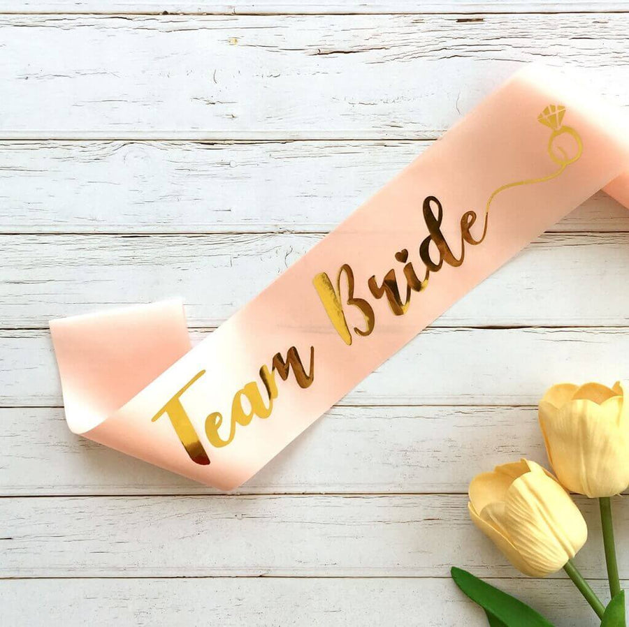 Online Party Supplies Champagne Pink Gold Foiled 'Team Bride' Hen Party Bridal Satin Sash