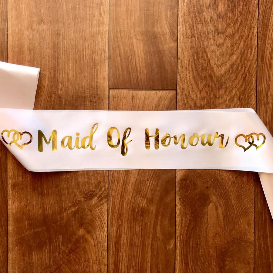 Champagne Pink 'Maid Of Honour' Bachelorette Party Satin Sash - Online Party Supplies