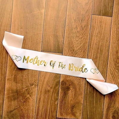 Champagne Pink 'Mother Of The Bride' Bachelorette Party Satin Sash - Online Party Supplies
