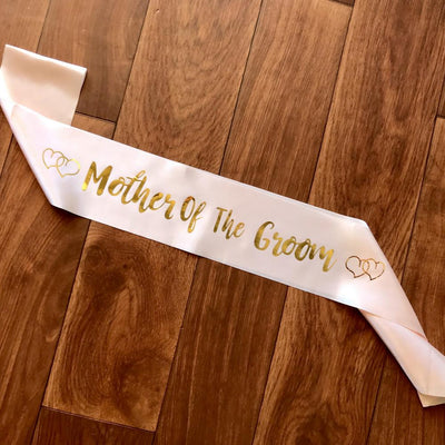 Champagne Pink 'Mother Of The Groom' Bachelorette Party Satin Sash - Online Party Supplies