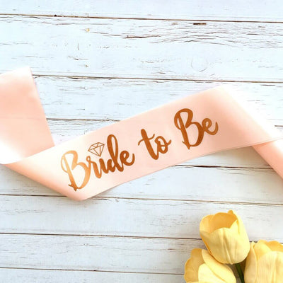 Rose Gold Foiled 'Bride To Be' Hen Party Bridal Shower Satin Sash