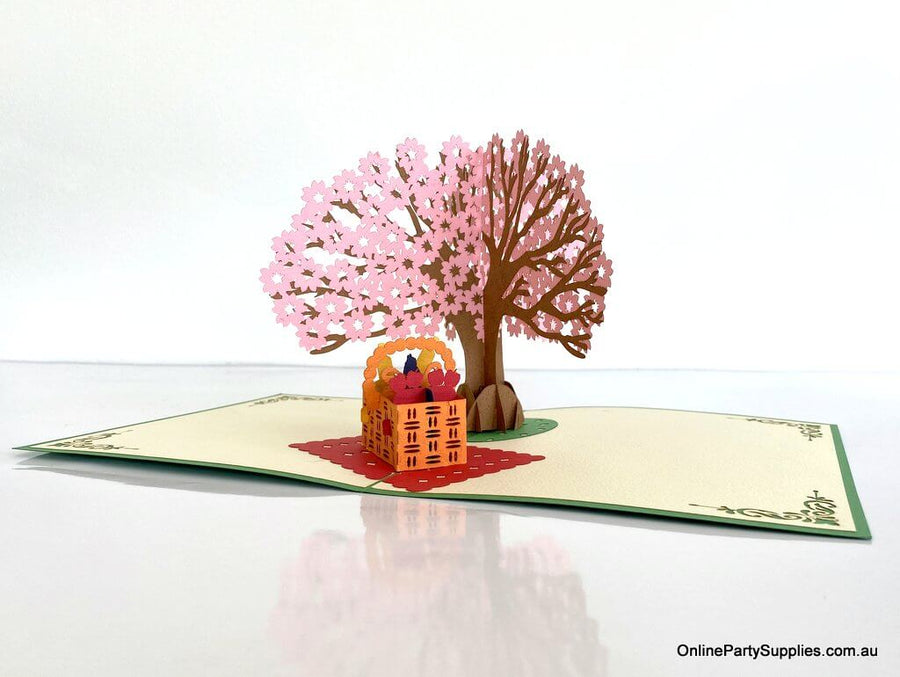 Handmade Cherry Blossom Tree with a Picnic Basket Pop Up Greeting Card