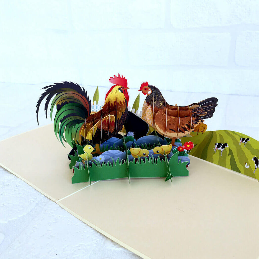 Handmade Colourful Chicken Family On A Farm Pop Up Card