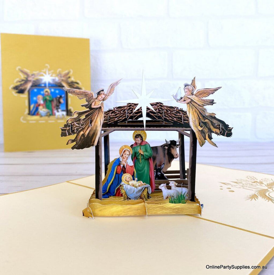 Online Party Supplies Australia A Holy Family Suede Reflections House Flag 3D Pop Up Christmas Card