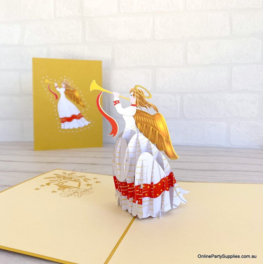 Online Party Supplies Australia Handmade Christmas Angel Blowing Trumpet Pop Up Xmas Card - Gold Cover