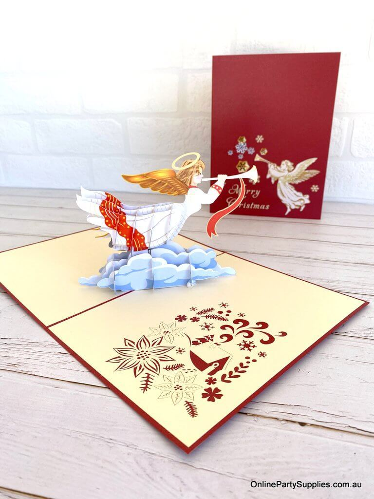 Online Party Supplies Australia Handmade Christmas Angel Blowing Trumpet Pop Up Xmas Card For Daughter - Red Cover