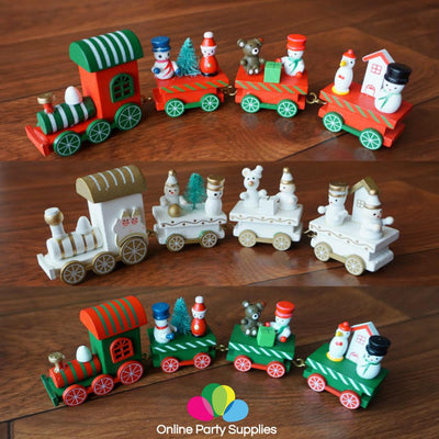 Christmas Decoration Handmade Mini Wooden Train Set - Online Party Supplies