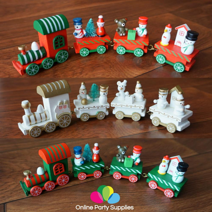 Christmas Decoration Handmade Mini Wooden Train Set