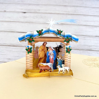 Online Party Supplies Australia Christmas Nativity Scripture 3D Pop Up Greeting Card