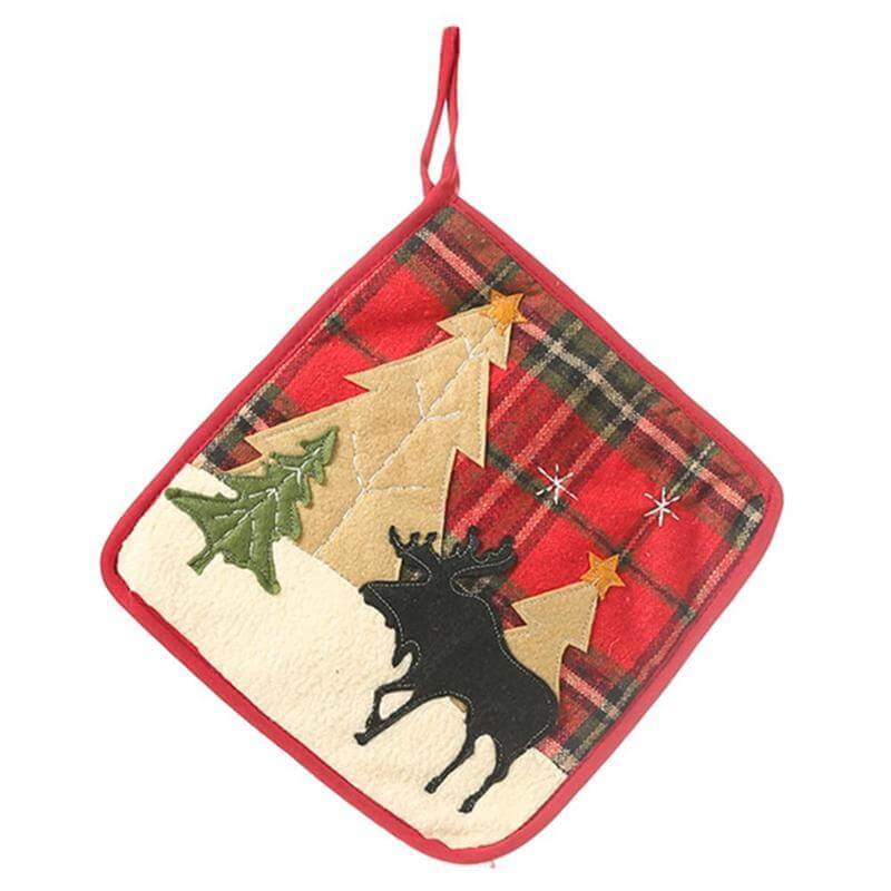 Christmas Oven Mitt and Potholder Set - Moose