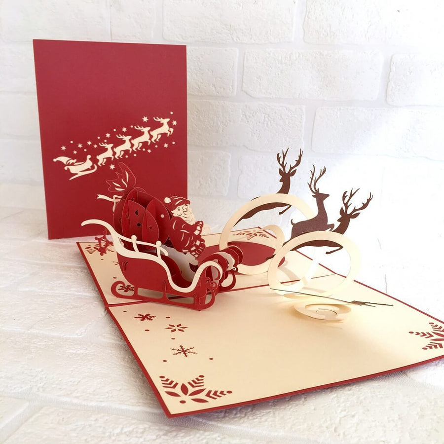 Handmade Santa On Sleigh Reindeer Pop Up Card - Pop Up Christmas Cards