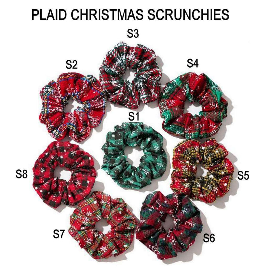Plaid Christmas Scrunchies - Holiday Hair Accessories, Hair Ties, and Elastics