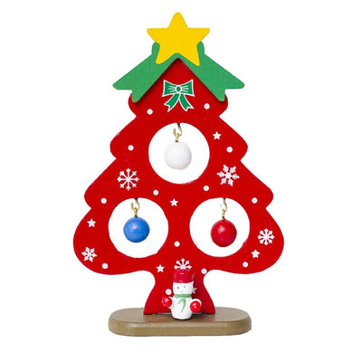 Christmas Table Decoration Mini Wooden Christmas Tree on Wooden Stand - Online Party Supplies
