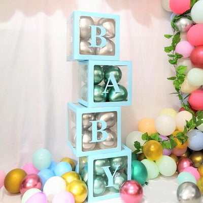 Transparent Baby Shower Balloon Cube Boxes - Blue