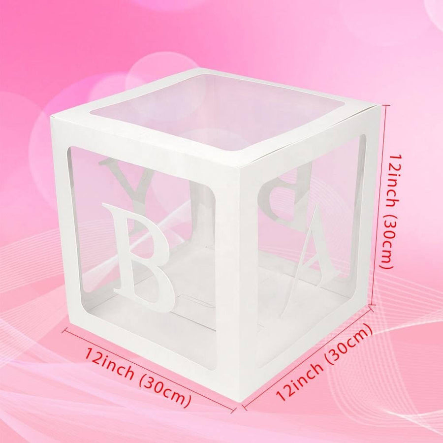 Transparent BABY Balloon Decor Boxes with Letters, Individual BABY Blocks Designed for Boys and Girls Baby Shower and Gender Reveal Party Decorations and Backdrop