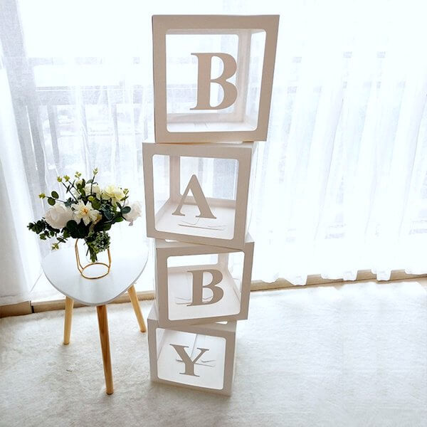 Transparent & White BABY Balloon Cube Boxes - Baby Shower and Gender Reveal Party Decorations