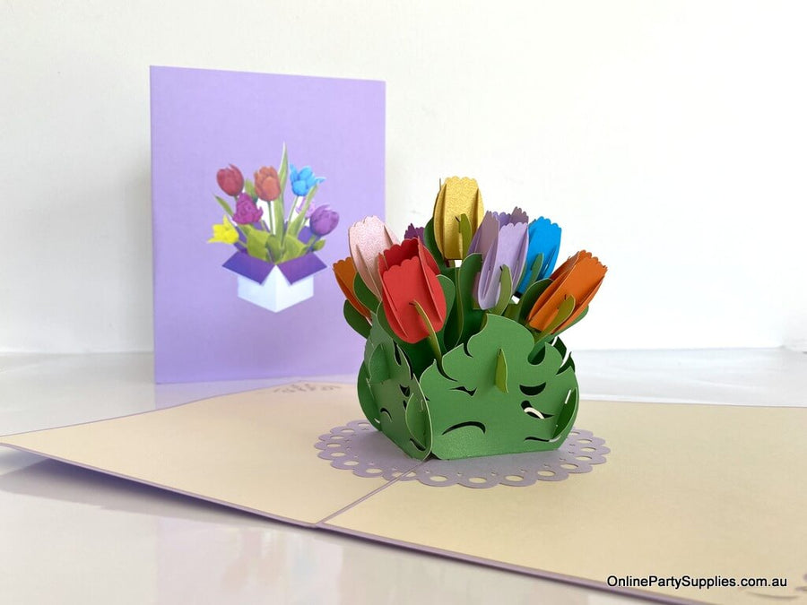 Handmade Colourful Tulip Flower Bouquet in a Posy Box 3D Pop Up Greeting Card