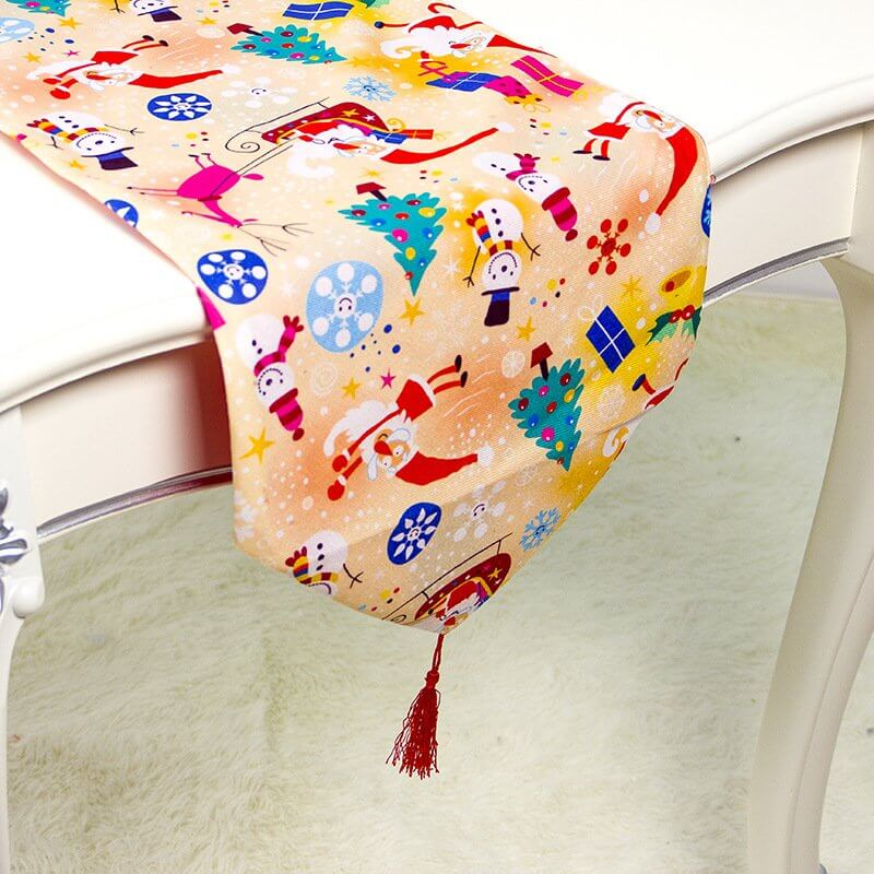 35cmx180cm Christmas Party Table Runner with Tassel