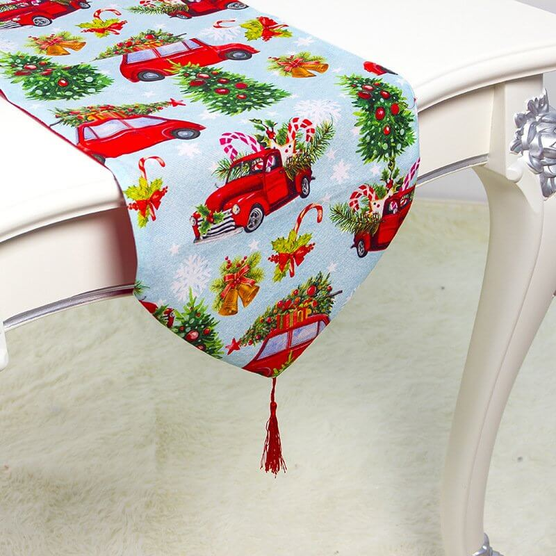 Christmas Party Table Runner with Tassel - Red Xmas Truck