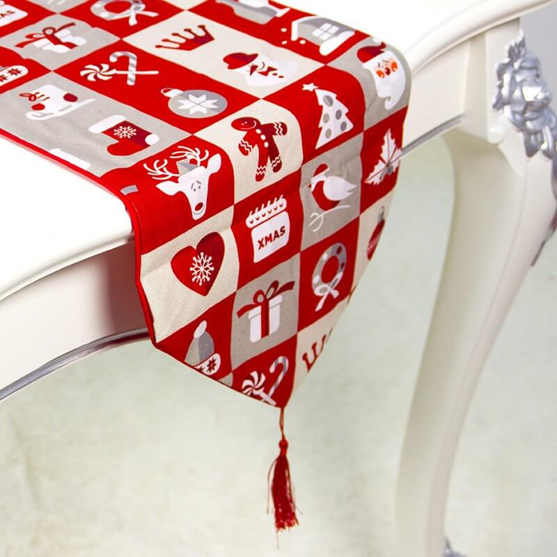 Red Check Christmas Table Runner with Tassels